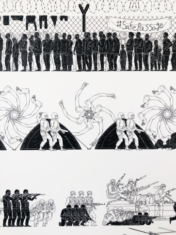Wallpaper made from drawings by Ai Weiwei, including his famous middle finger